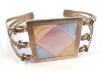Vintage Sterling Silver And Mother Of Pearl Chunky Cuff Bangle.